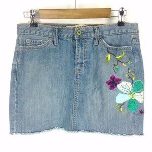 Gap Jeans Embroidered Denim Mini Skirt Sz 6